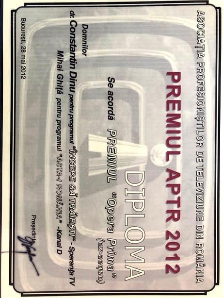 Premiul APTR in 2012 - Doctor Dinu Constantin