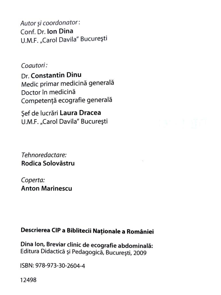 Contracoperta Breviar clinic de ecografie obstetricală, Editura Didactică și Pedagogică, 2009 - Doctor Dinu